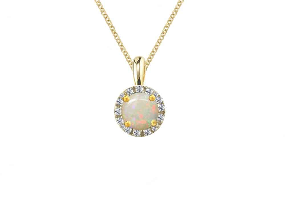 9ct gold pendant with round opal surrounded by diamonds