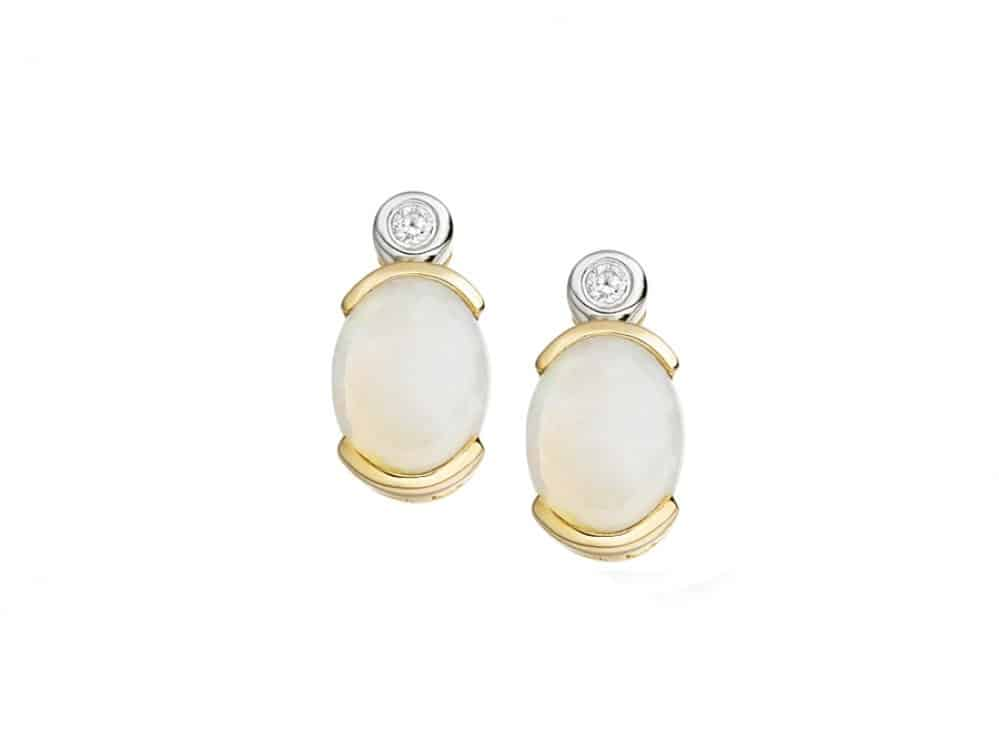 9ct Opal Stud Earrings with Diamond