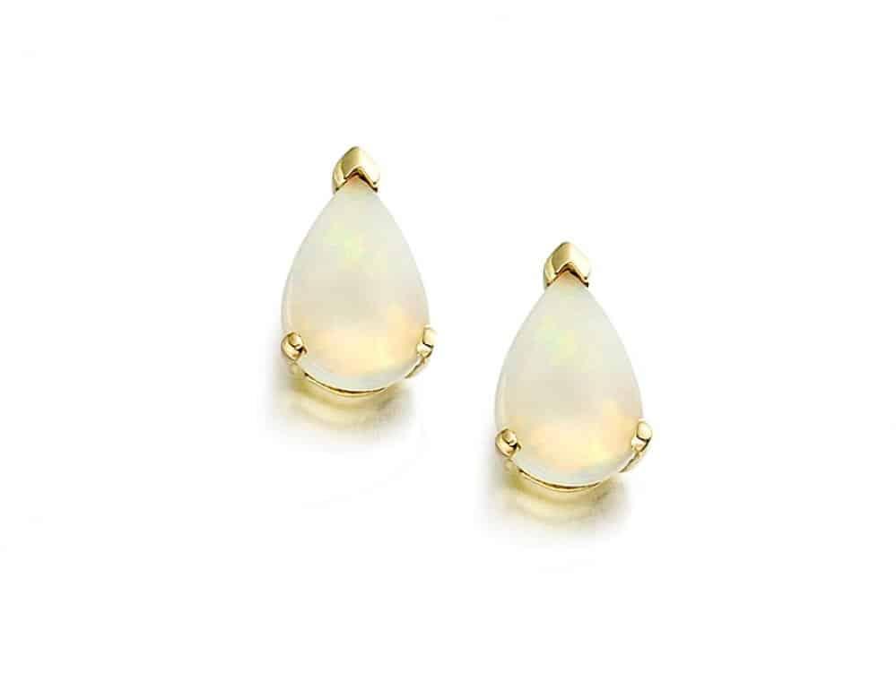 9ct Gold Teardrop Opal Stud Earrings