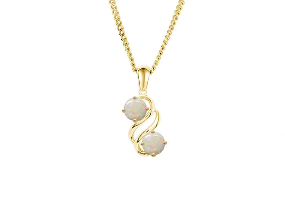 9ct Gold Wavy style pendant with two opals