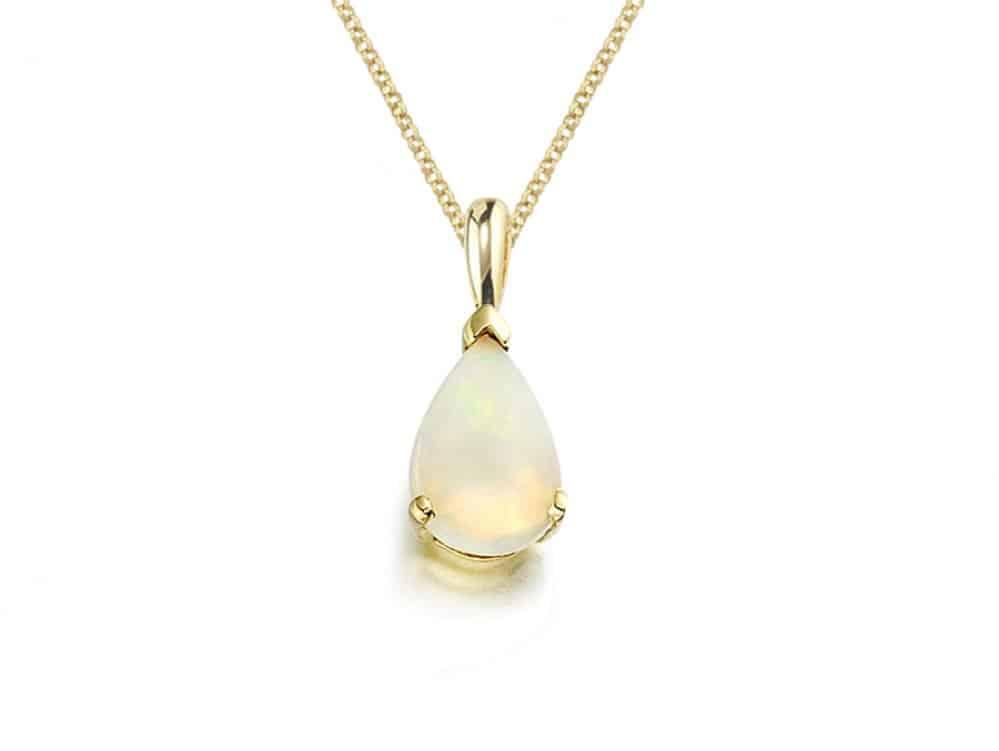 9ct Gold Opal Teardrop Pendant