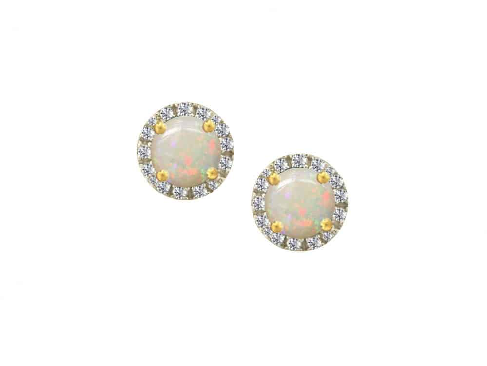 9ct Gold Stud Earrings with round opal and surrounded by diamonds