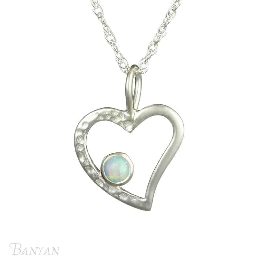 Silver Open Heart Pendant with Opalite
