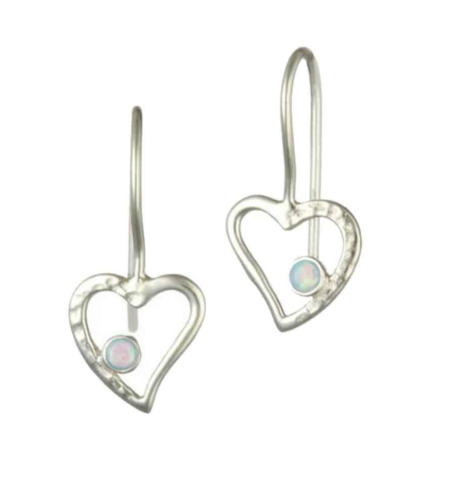 Silver Open Heart Drop Earring with Opalite