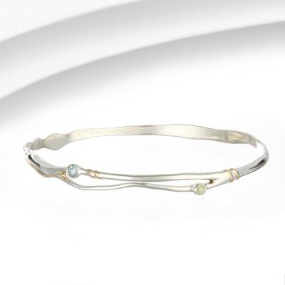Silver Bangle with opalite and blue topaz gemstones
