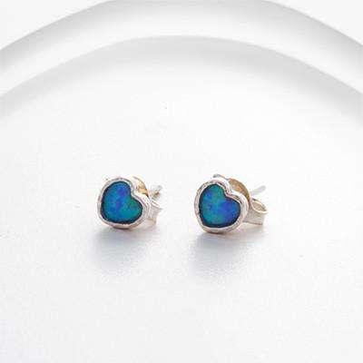 Silver and Opalite Heart Stud Earrings