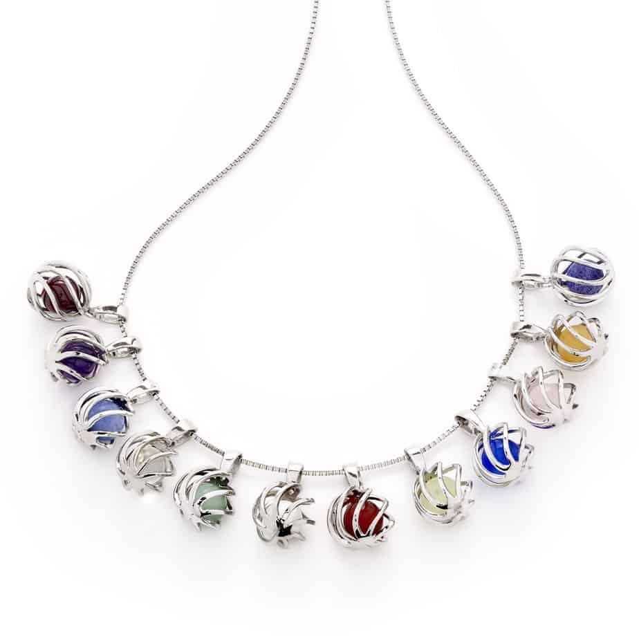 Row of Sphere of Life Birthstone pendants