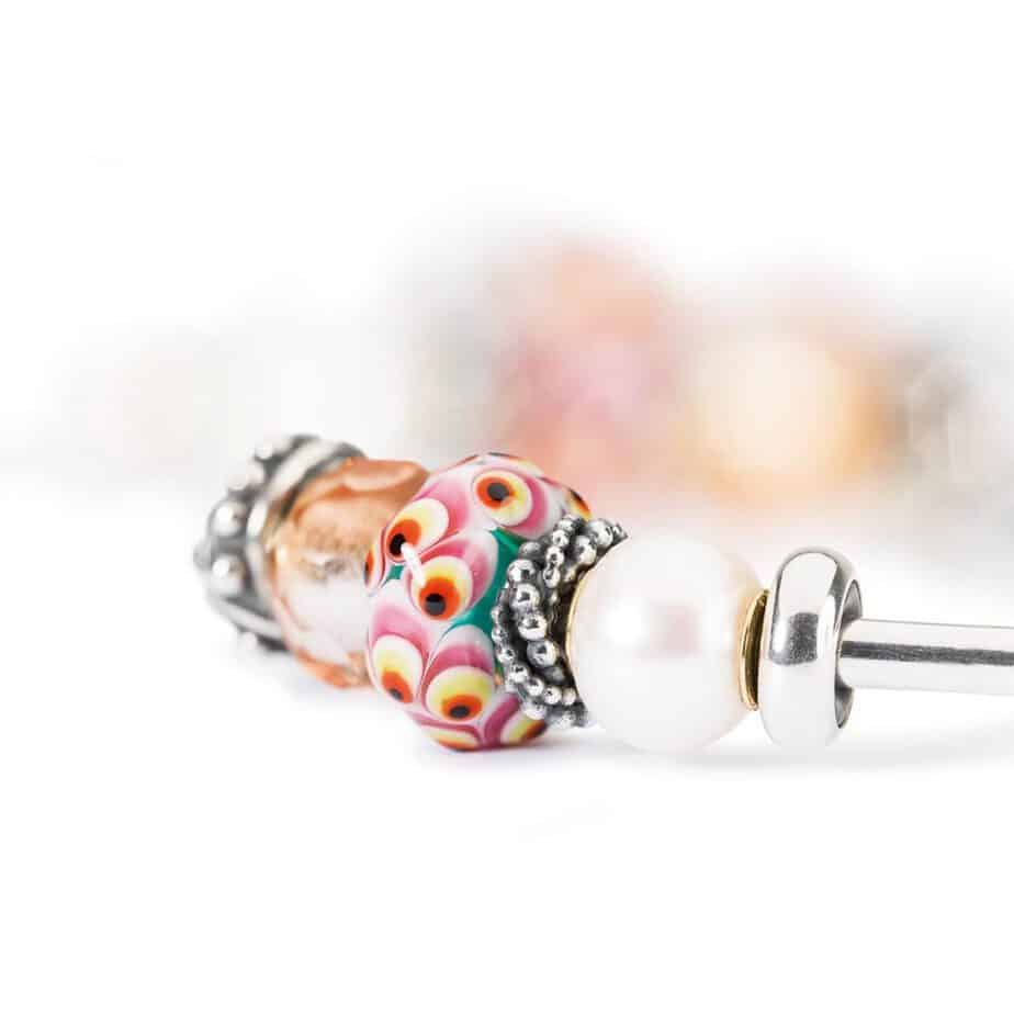 Trollbeads bangles with beads and pearl bead on