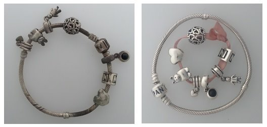 Pandora bracelet before and after cleaning with Jewellery Cleaning wipes