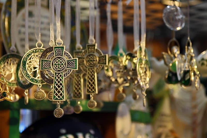Ankh necklaces hanging up in market