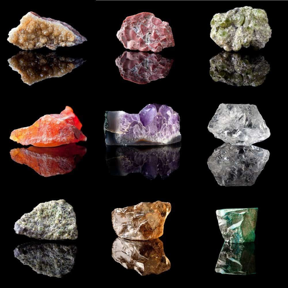 A group of uncut and unpolished gemstones