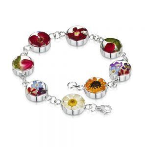 Bracelet with real, mixed flowers set in resin