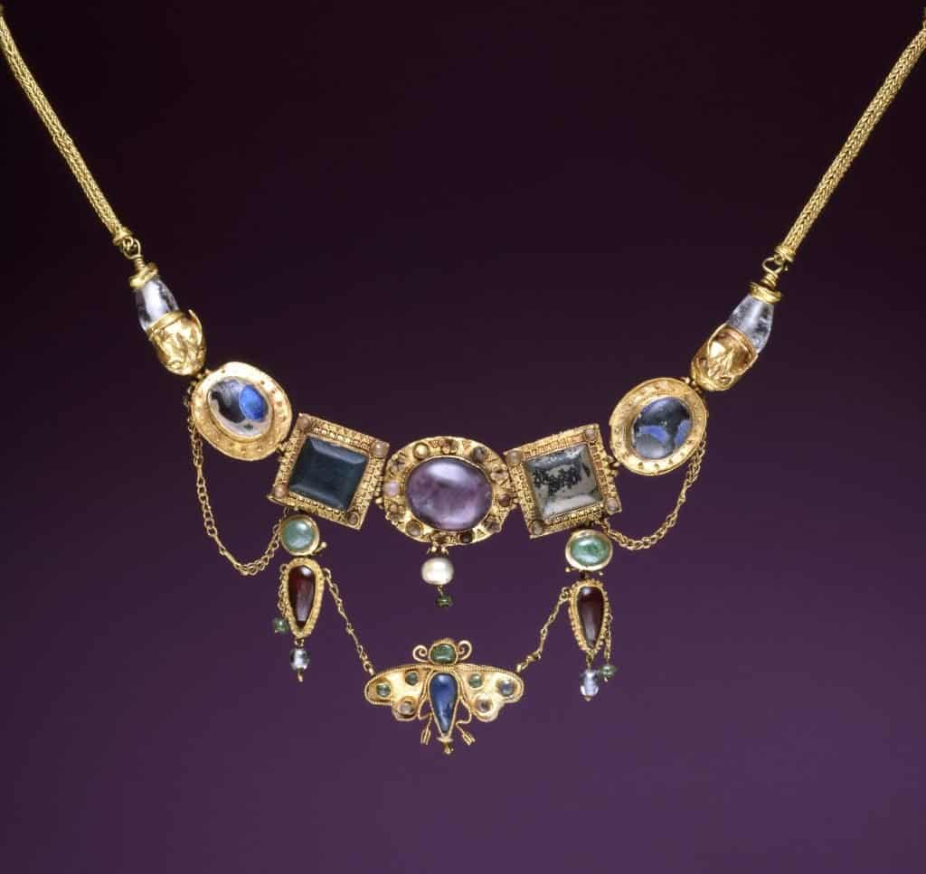 Greek Necklace with Butterfly Pendant