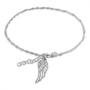 Silver Anklet with Angel Charm Dangle