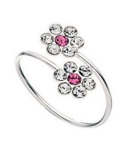 Silver Toe Ring with Pink and White Crystal Flower