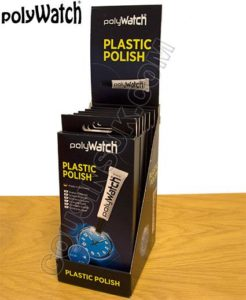 tube of polish for a scratched acrylic watch glass