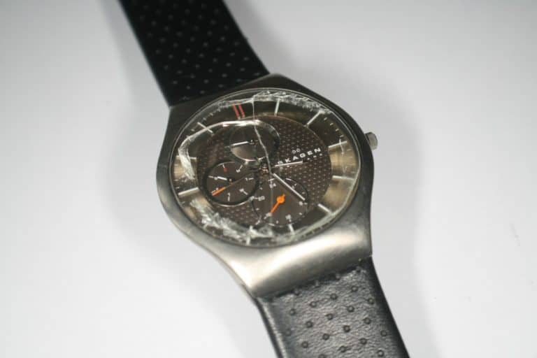 Watch with broken glass