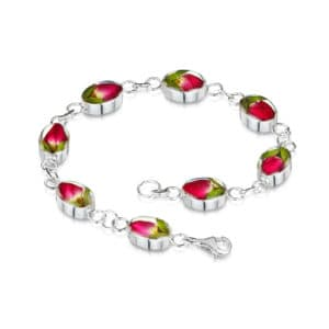 Real Flower Jewellery Silver Rose Bud Bracelet with oval links
