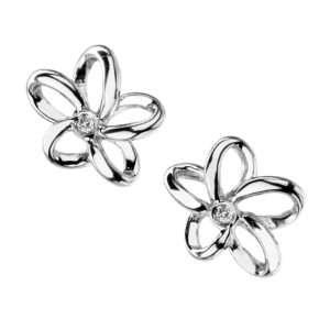 Hot Diamonds open flower earrings set with a diamond in each