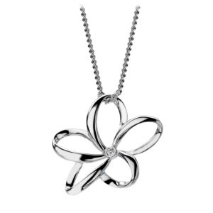 Open flower pendant with diamond set in the centre