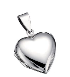 Silver heart locket which is slightly domed