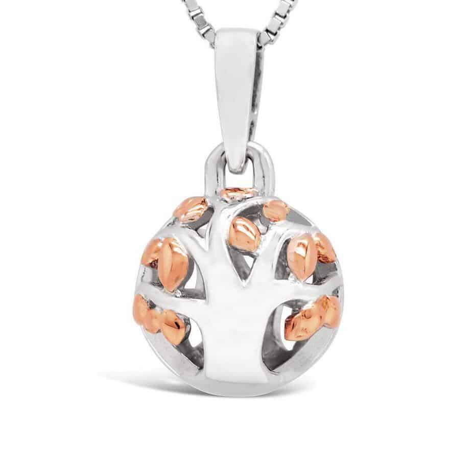 Spherical pendant in silver and rose gold with cut out tree called 'Family Life'