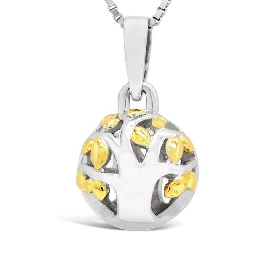 Spherical pendant in silver and yellow gold with a cut out tree called 'Family Life'