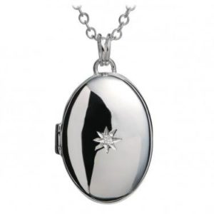 Oval silver locket with central diamond on chain