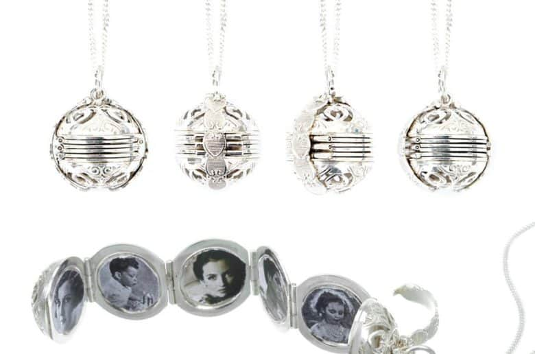 Round, ornate 'Memory Keeper' silver locket which holds 7 photographs