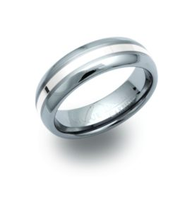 Men's Tungsten Ring with Silver Band Inlay