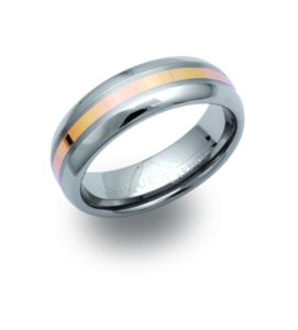 Men's Tungsten Ring with Gold Inlay Band