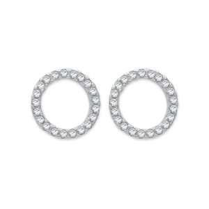 Silver CZ set open circle design stud earrings