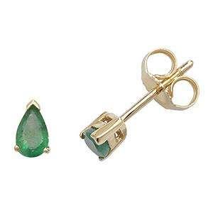 9ct Gold and Emerald Teardrop stud Earrings