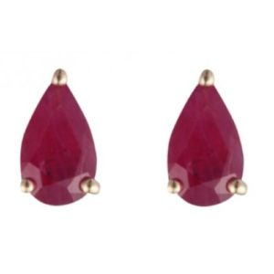 9ct gold and ruby teardrop or pear shaped stud earrings