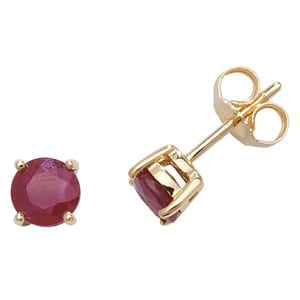 9ct gold Ruby round Stud earrings