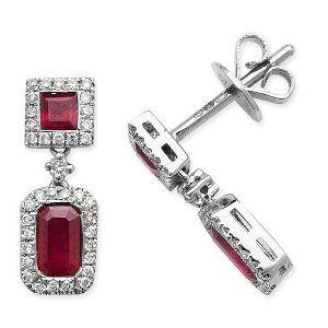 9ct White Gold Ruby and Diamond square drop earrings
