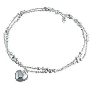 Silver Double-Chain Beaded Anklet with Heart Charm