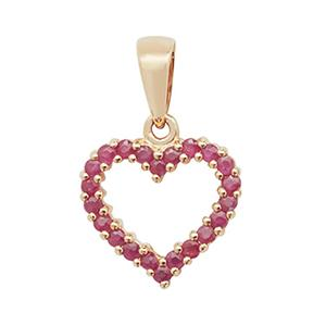 Open heart pendant in 9ct gold with rubies