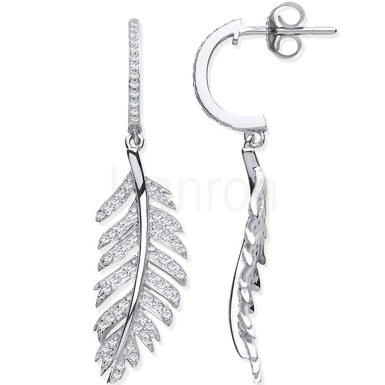 9ct White Gold and Diamond Feather Drop earrings