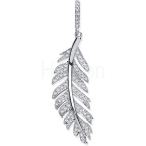 9ct White Gold and Diamond Feather Pendant