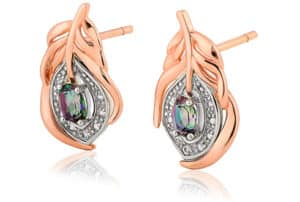 Clogau Welsh Gold Peacock Throne Stud Earrings with white and mystic topaz