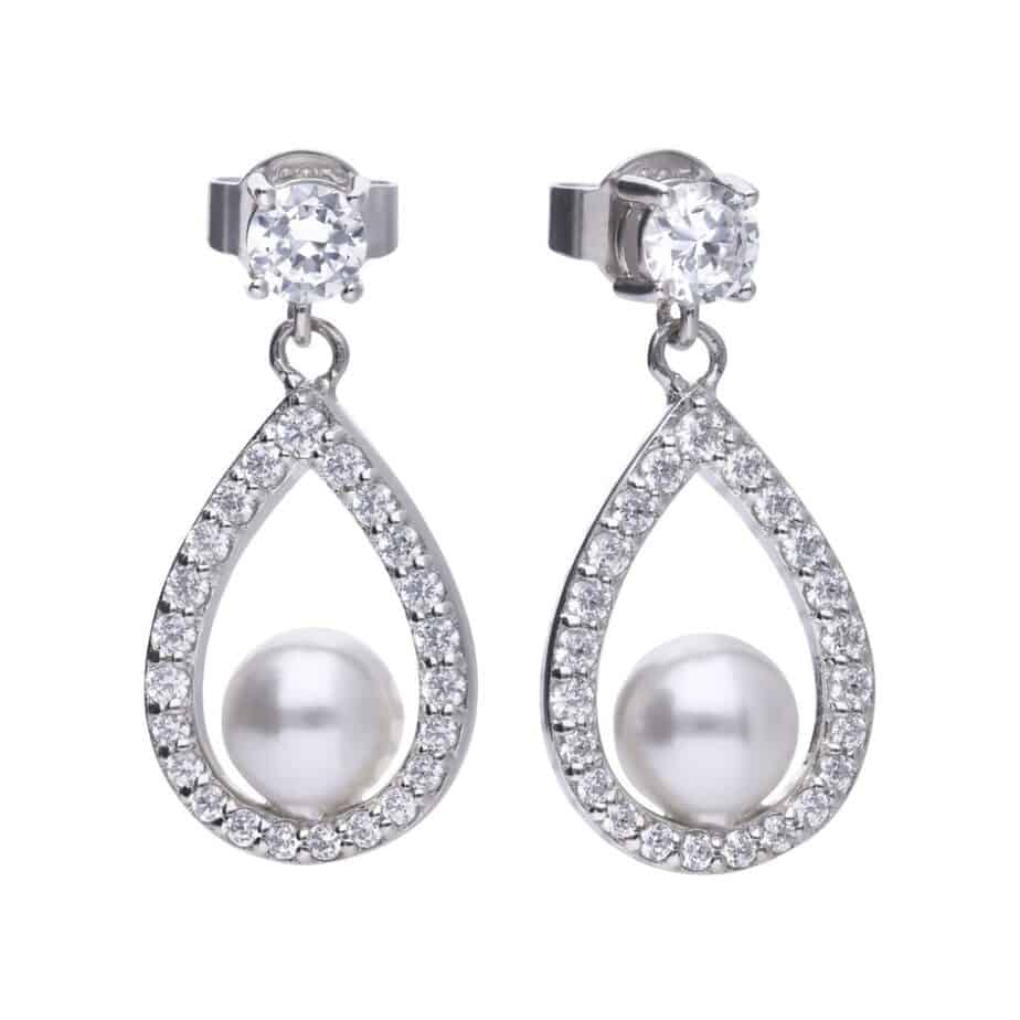 Diamonfire White Shell Pearl and Cubic Zirconia Teardrop Earrings