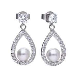 Diamonfire White Shell Pearl and Cubic Zirconia Teardrop Earrings