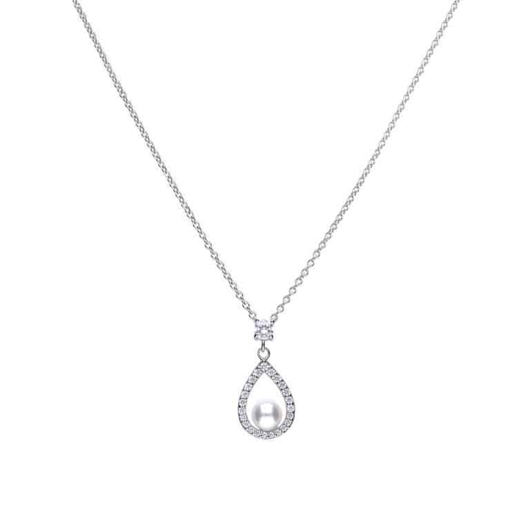 Diamonfire White Shell Pearl and Cubic Zirconia Teardrop Pendant