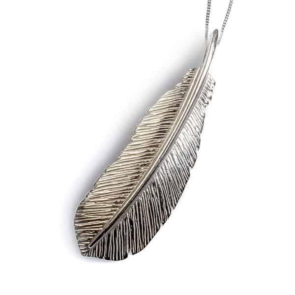 Silver Bird Feather Pendant