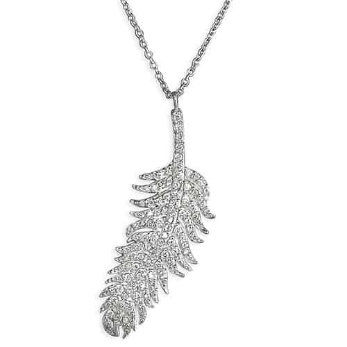 A silver and CZ feather pendant and chain