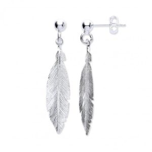 Silver drop Feather Earrings