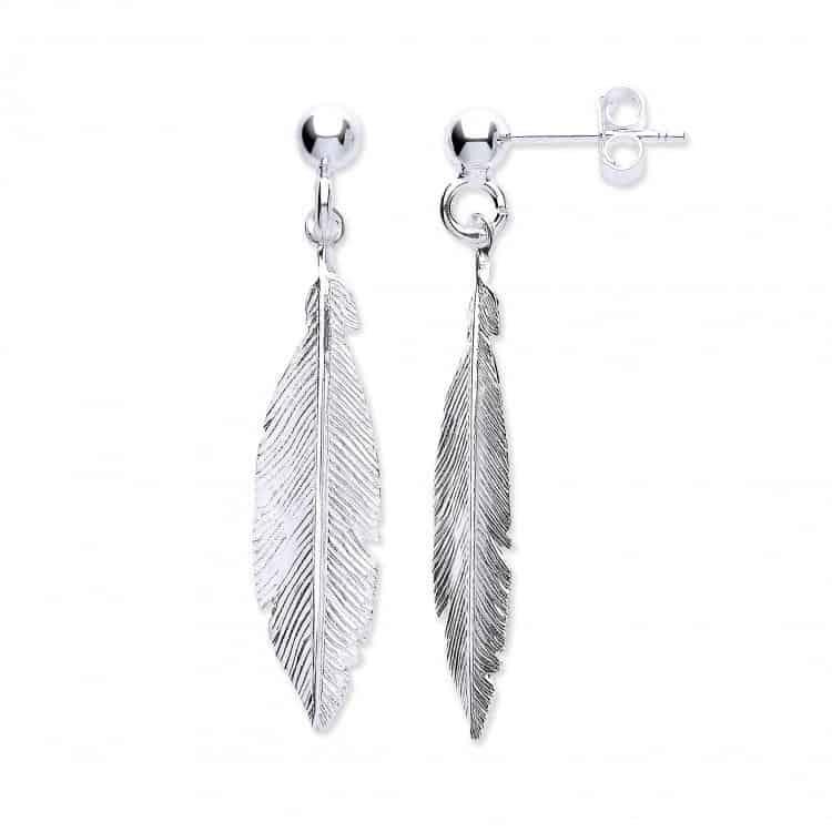 Silver drop Feather Earrings