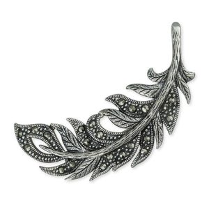 Silver Feather Marcasite Brooch