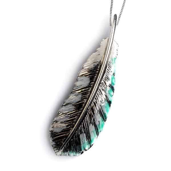 Silver handpainted Woodpecker pendant